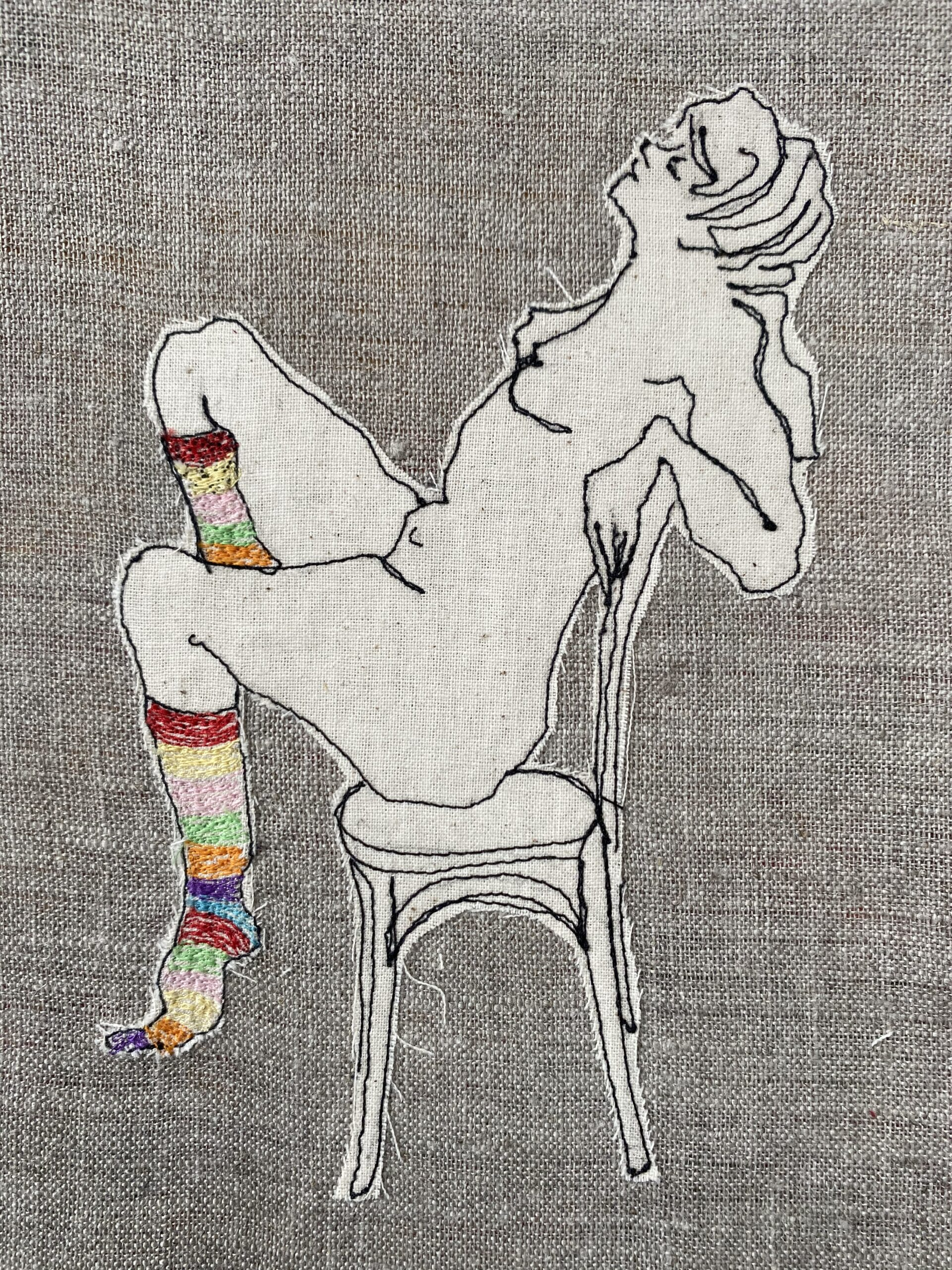 Ms Stripey Socks II Embroidered Textile Artwork By  Juliet D Collins (Prahran)