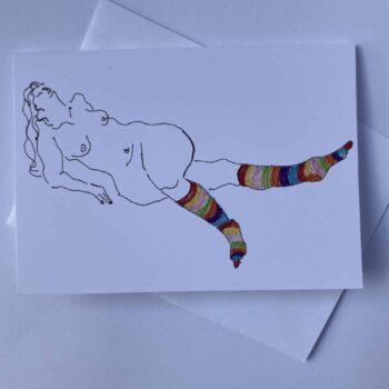 card-ms-stripey-socks-by-juliet-d-collins--julietdcollins