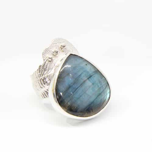 Cuttlebone Cast And Teardrop Labradorite Ring By TLH Inspired