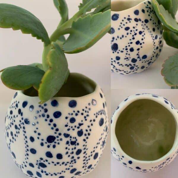 blue paisley porcelain plant pot by the intrepid potter