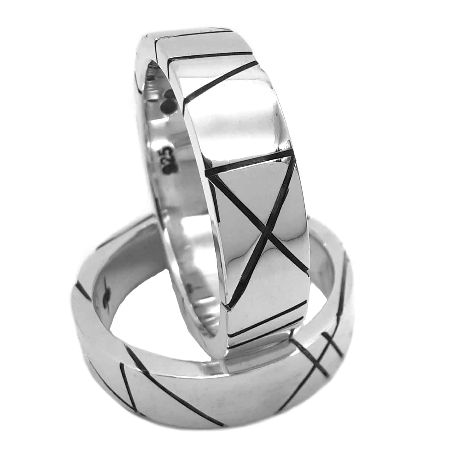 Lines Of Symmetry Ring, Sterling Silver, Size Q By R-Process