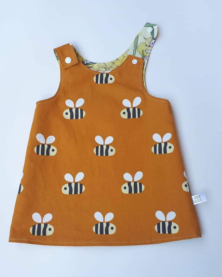 Children's Size 000 Reversible Pinafore Dress – Bees And Gumnuts Blue By St David Studio 3065