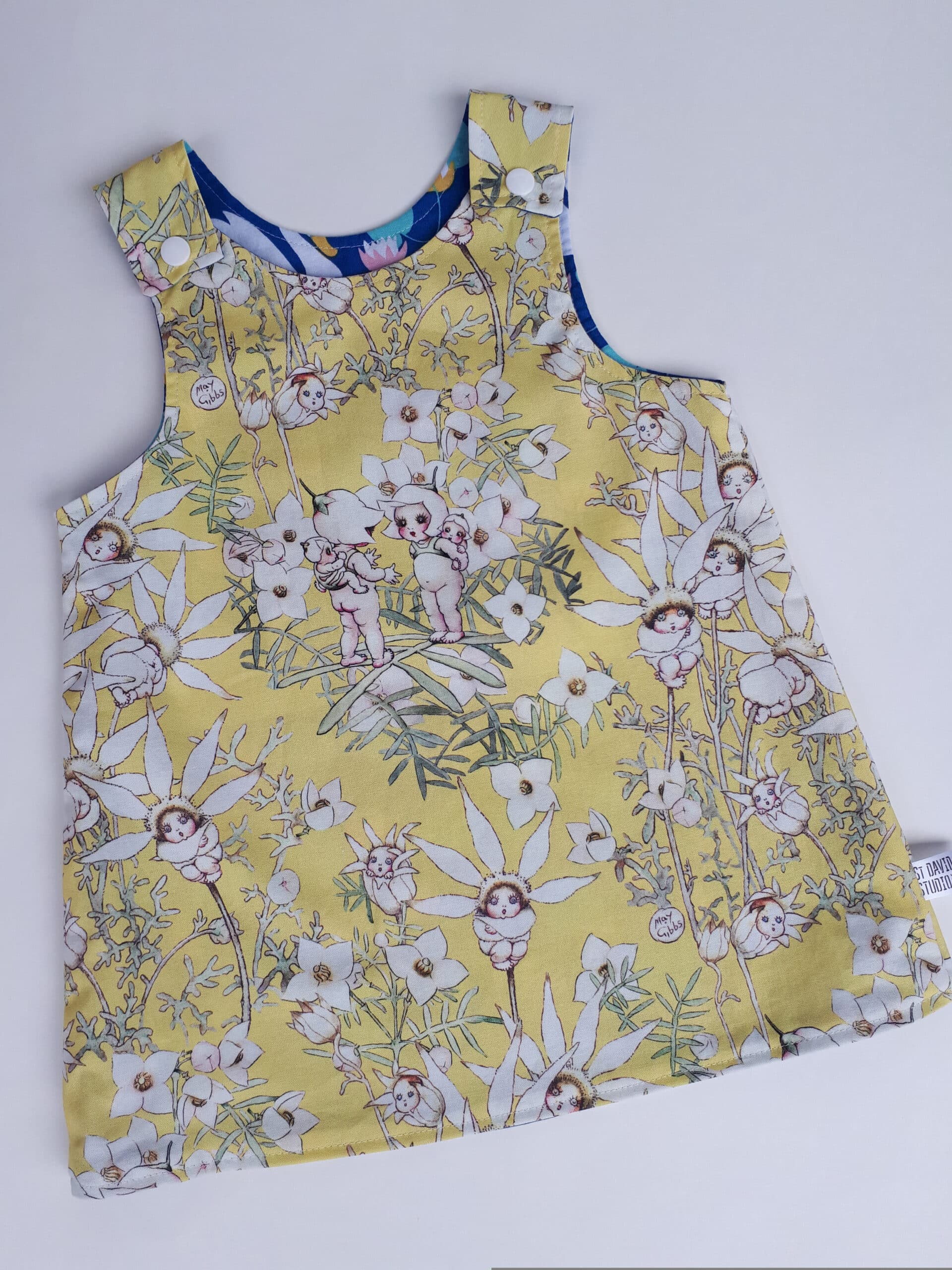 Children's Size 2 Reversible Pinafore Dress – Lemon Flannel Flowers And Swans By St David Studio 3065