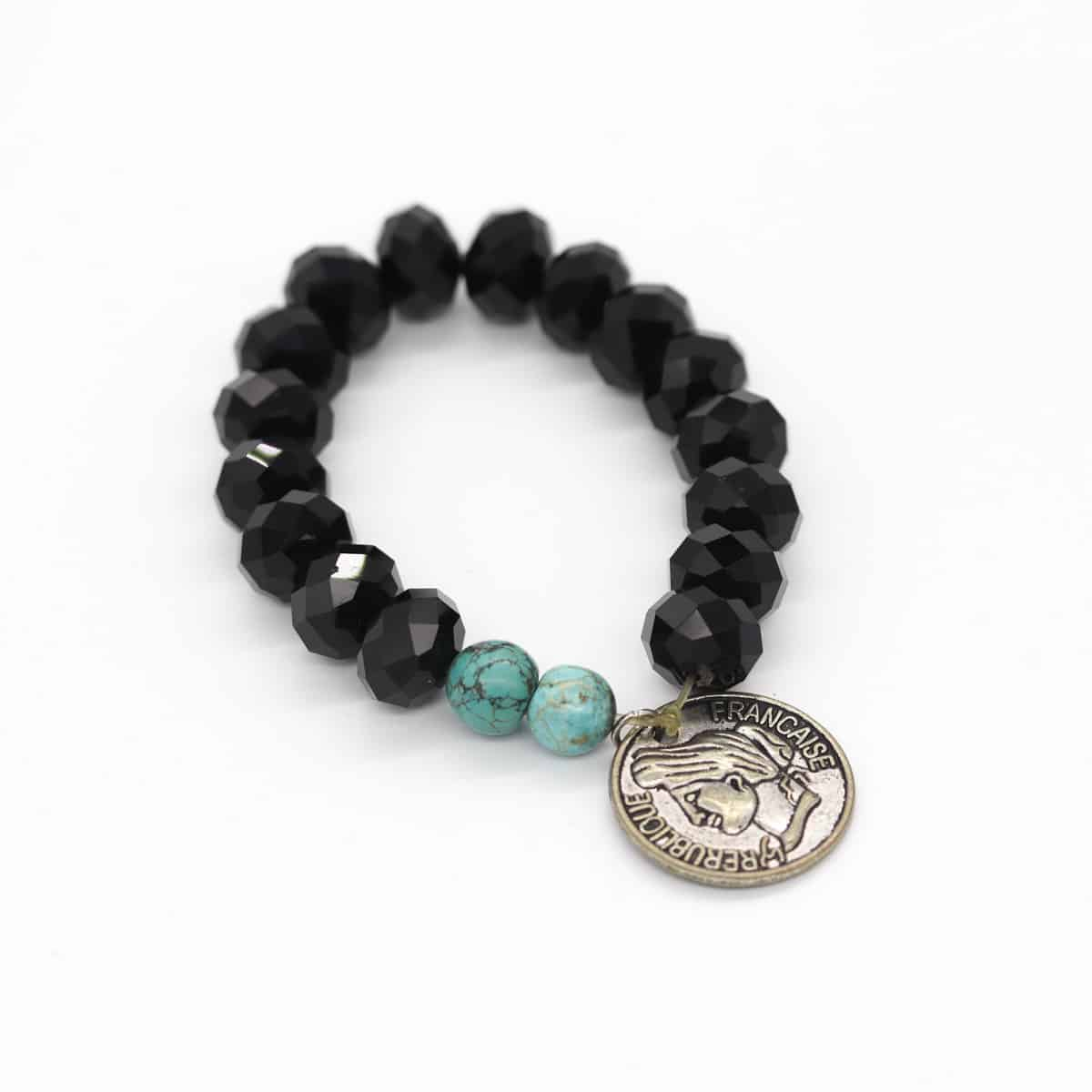 Turquoise And Aztec Black Stretch Bracelet By BJewel*Co