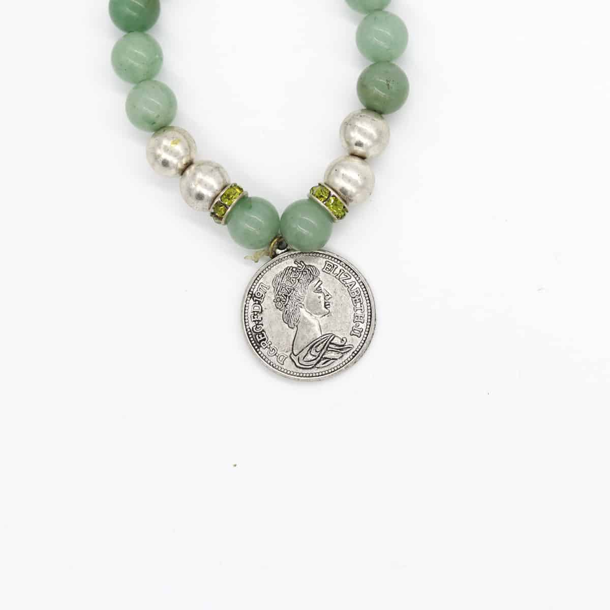 Natural Green Jade Roman Coin Stretch Bracelet By BJewel*Co