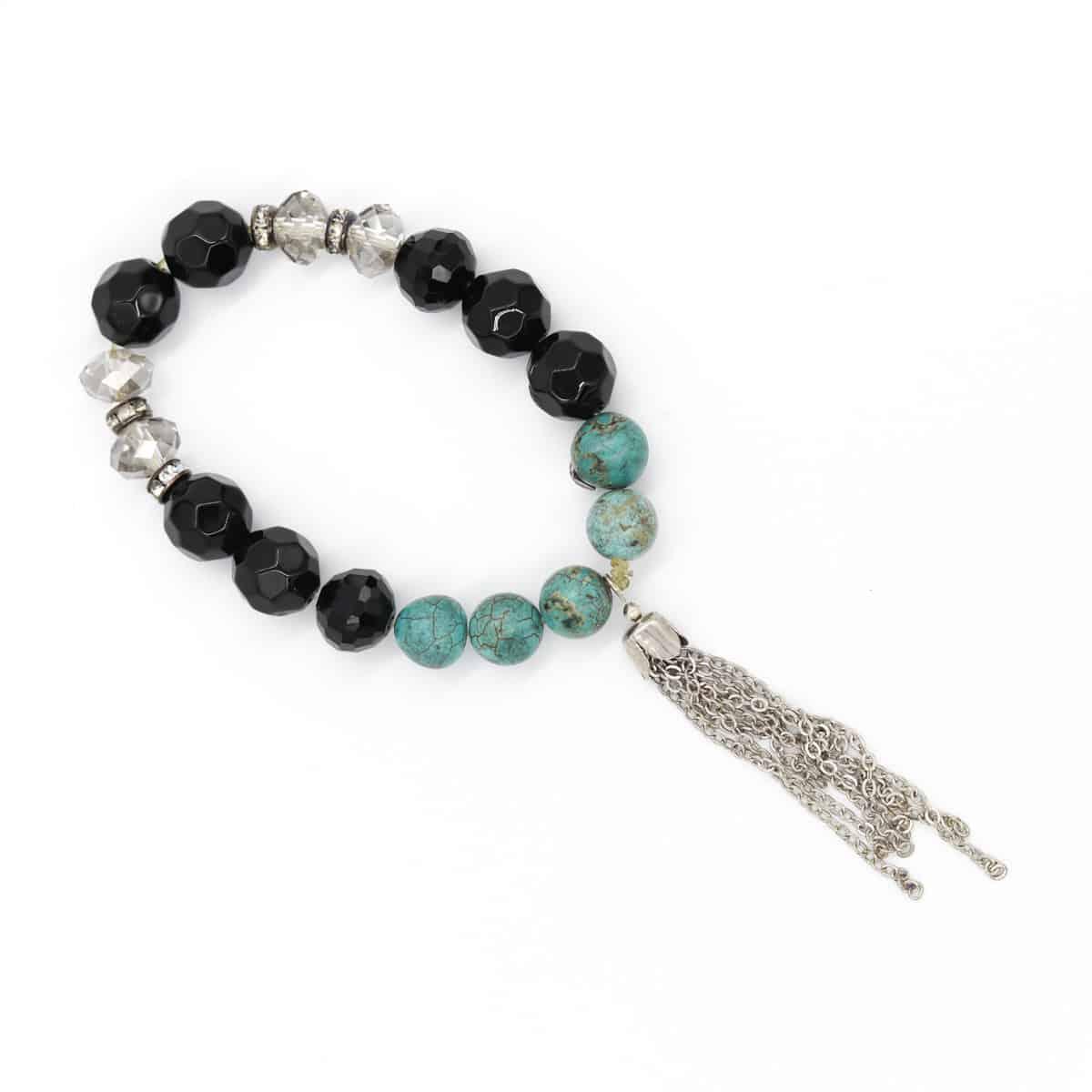 Turquoise And Black Aztec Moonrock Swarovski Crystal Stretch Bracelet By BJewel*Co