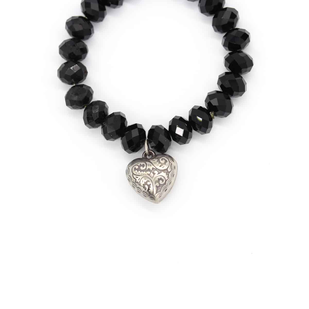 Silver Heart And Agate Black Stretch Beaded Bracelet By BJewel*Co