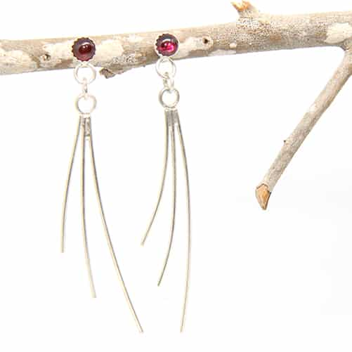 Sterling Silver With Garnet Earrings By TLH Inspired