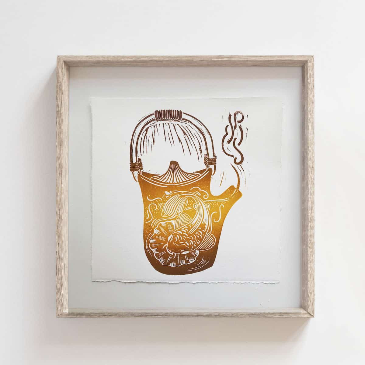 (Linoprint) Teapot Series: Lucky Fish – By Jocelin Meredith Artwork