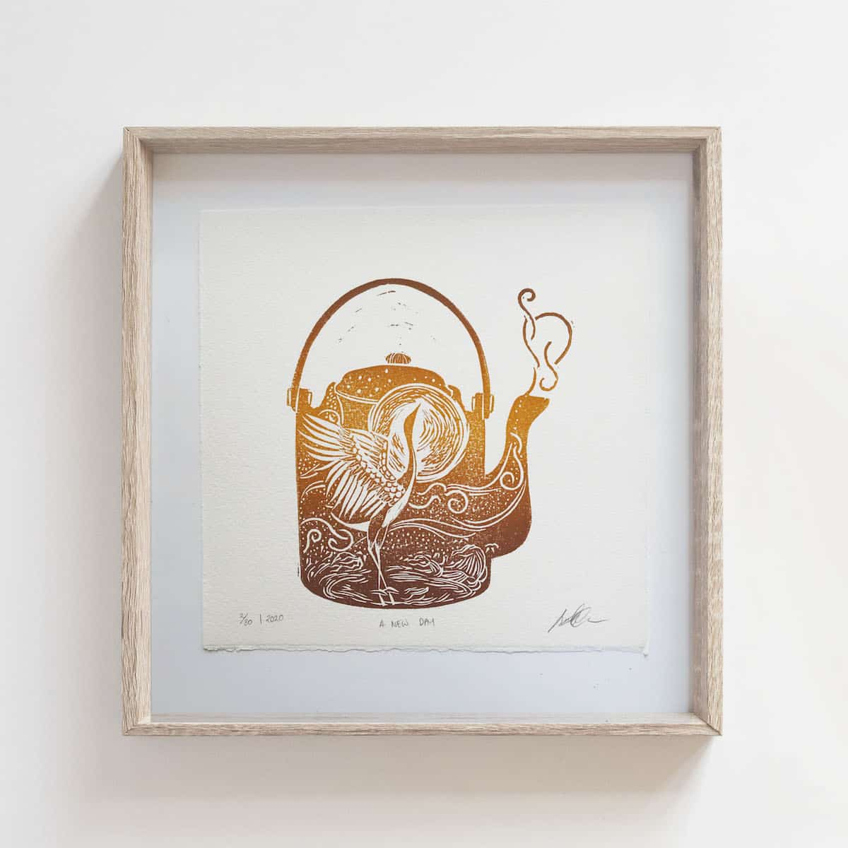 (Linoprint) Teapot Series: A New Day – By Jocelin Meredith Artwork