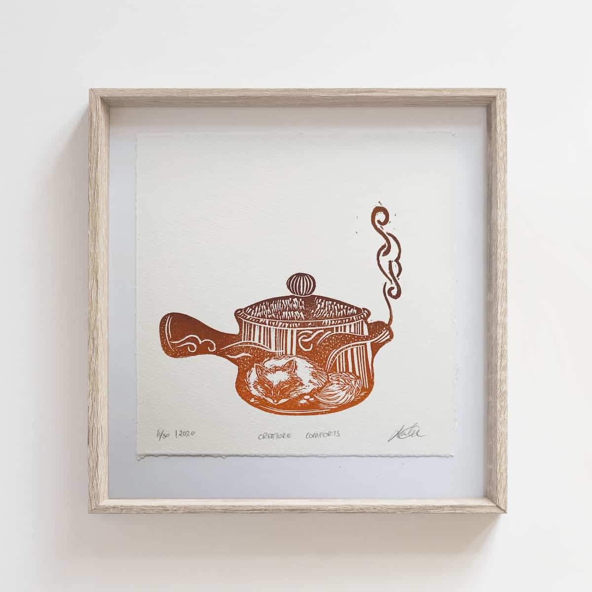 (Linoprint) Teapot Series: Creature Comforts – By Jocelin Meredith Artwork