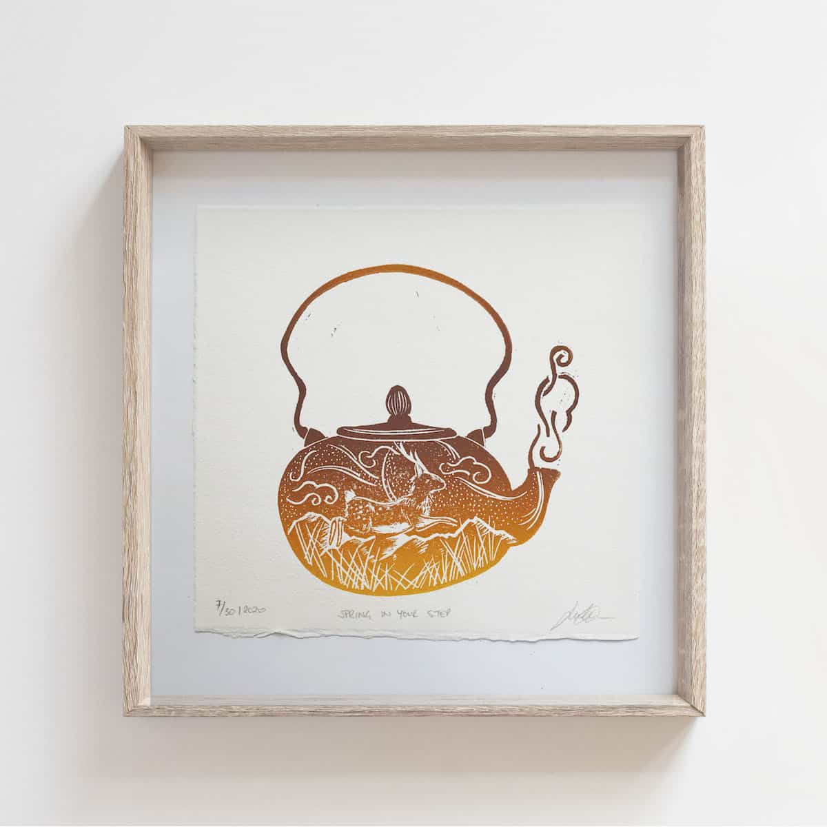 (Linoprint) Teapot Series: Spring In Your Step – By Jocelin Meredith Artwork