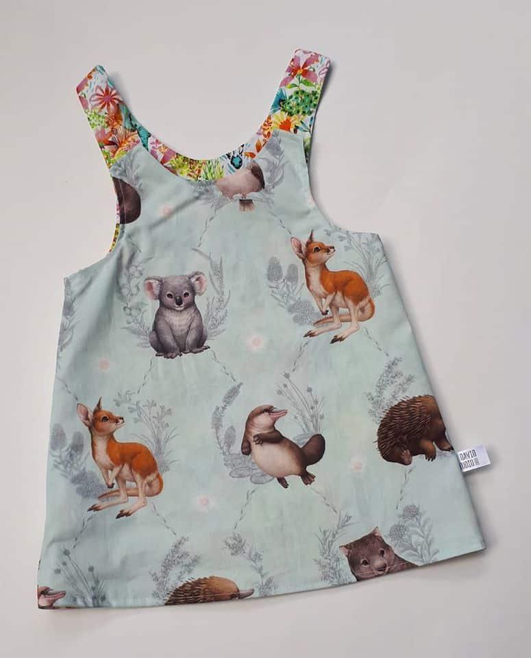 Children's Size 0 Reversible Pinafore Dress – Mint Australian Animals And May Gibbs Pink Gossiping Gumnuts By St David Studio 3065 Kids