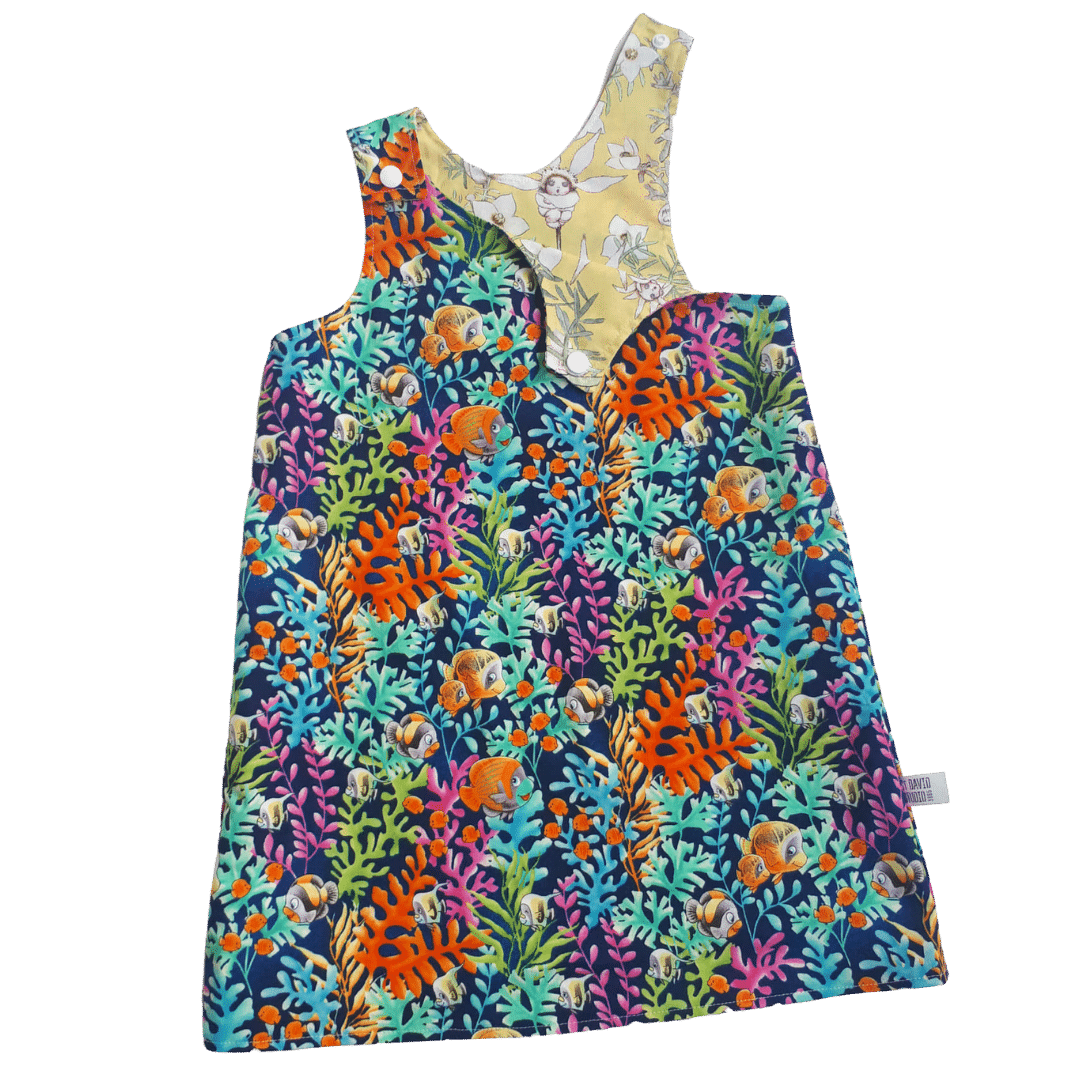 Children's Size 2 Reversible Pinafore Dress – Coral Fish And Yellow Flannel Flowers By St David Studio 3065 Kids