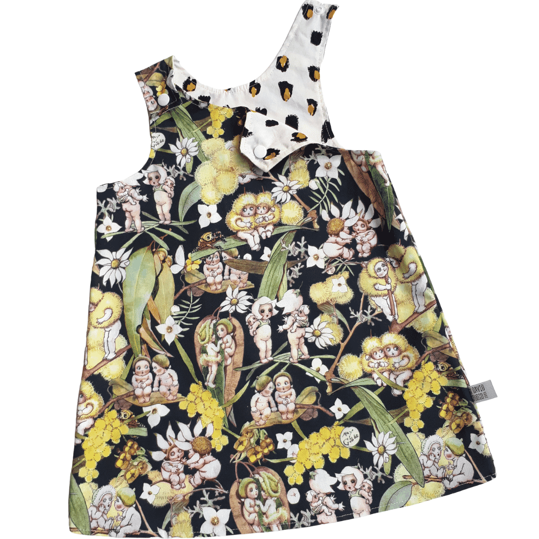 Children's Size 1 Reversible Pinafore Dress – Green Gossiping Gumnuts And Leopard Spots By St David Studio 3065