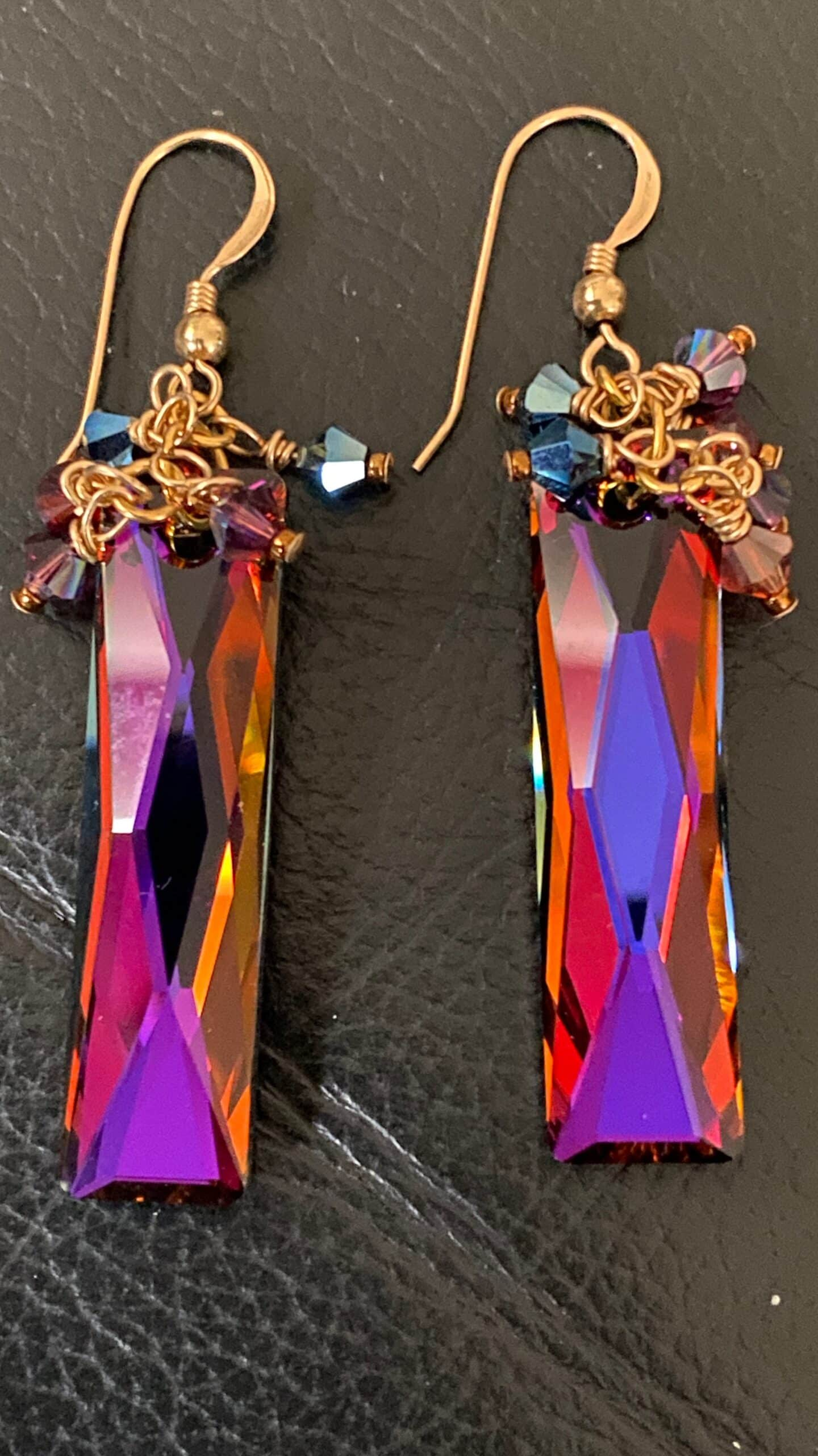 Swarovski Baguette Crystal And Bicones Fringe Earrings. 14 Ct Gold Filled Wires By Covet And Desire