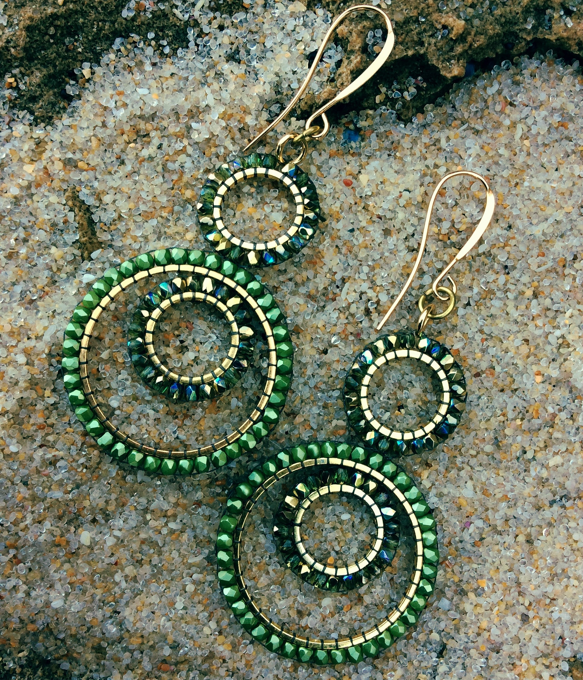 Czech fire polish green crystal hoops and 14k Gold Filled wires - by Covet and Desire