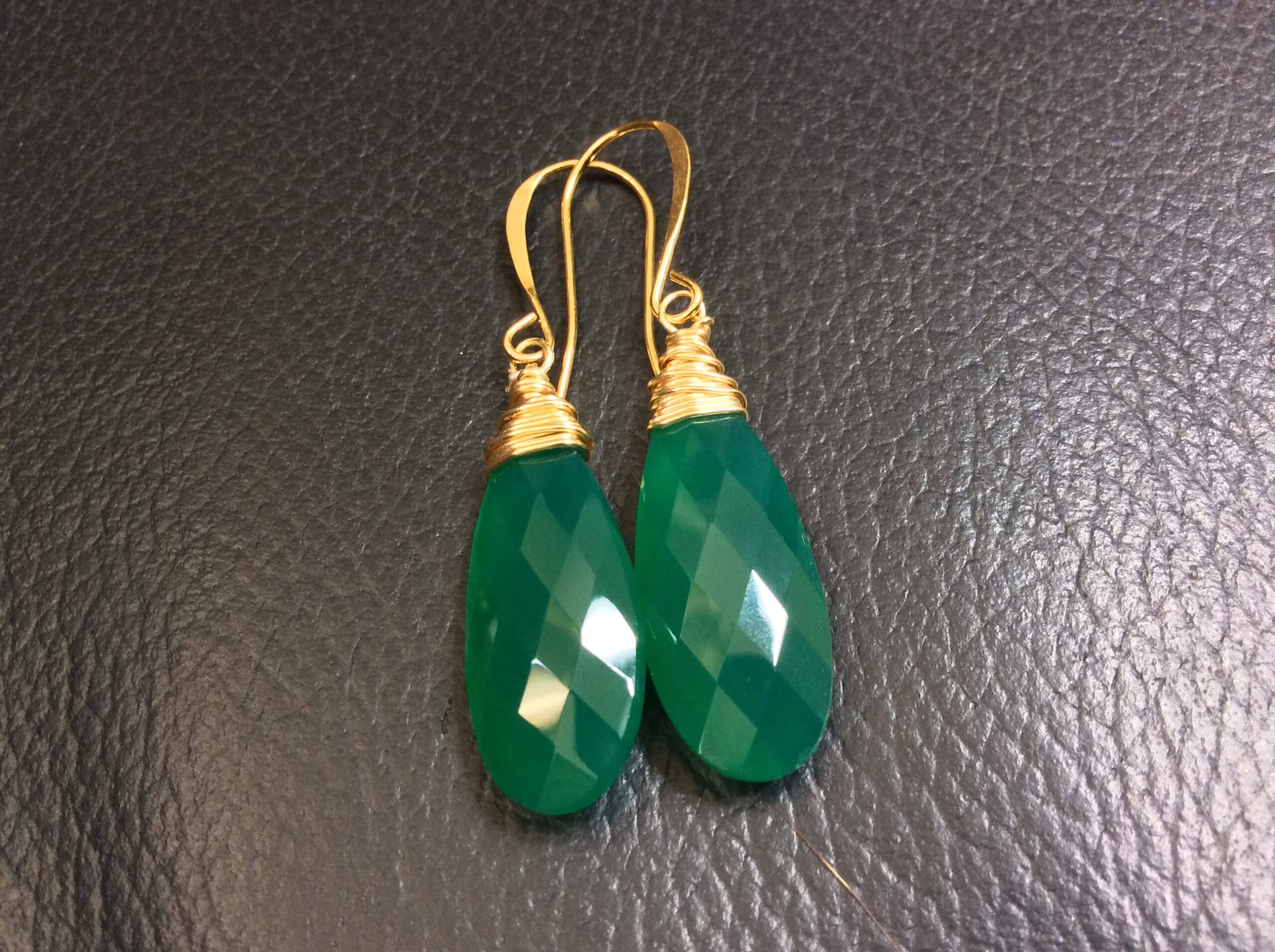 Green Onyx Earrings With 14k Gold Filled Wires By Covet And Desire