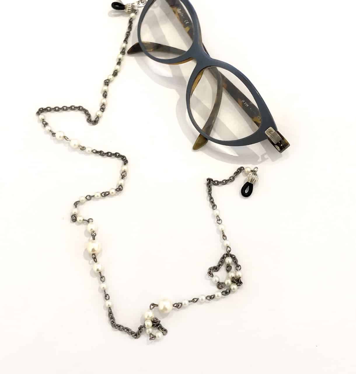 Glasses Chain Made With Repurposed Vintage Pearl Beads And Chain By My Vintage Obsession