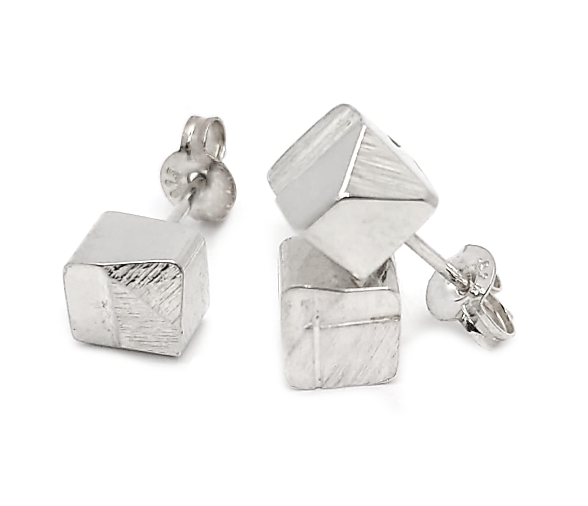 EDGE Square Stud Earring Single, Sterling Silver By R-Process