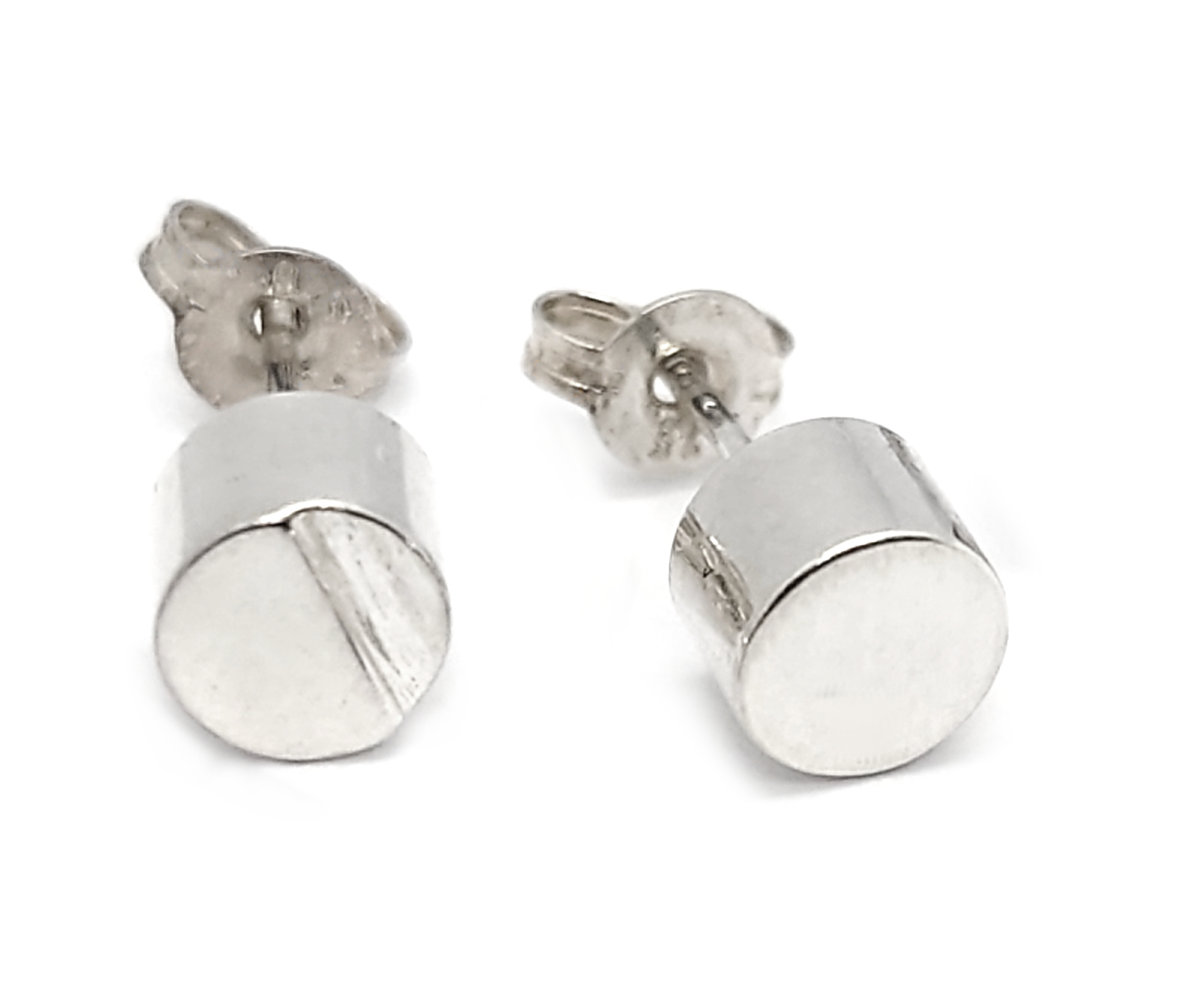 Edge Sterling Silver Circle Stud Earrings By R-Process