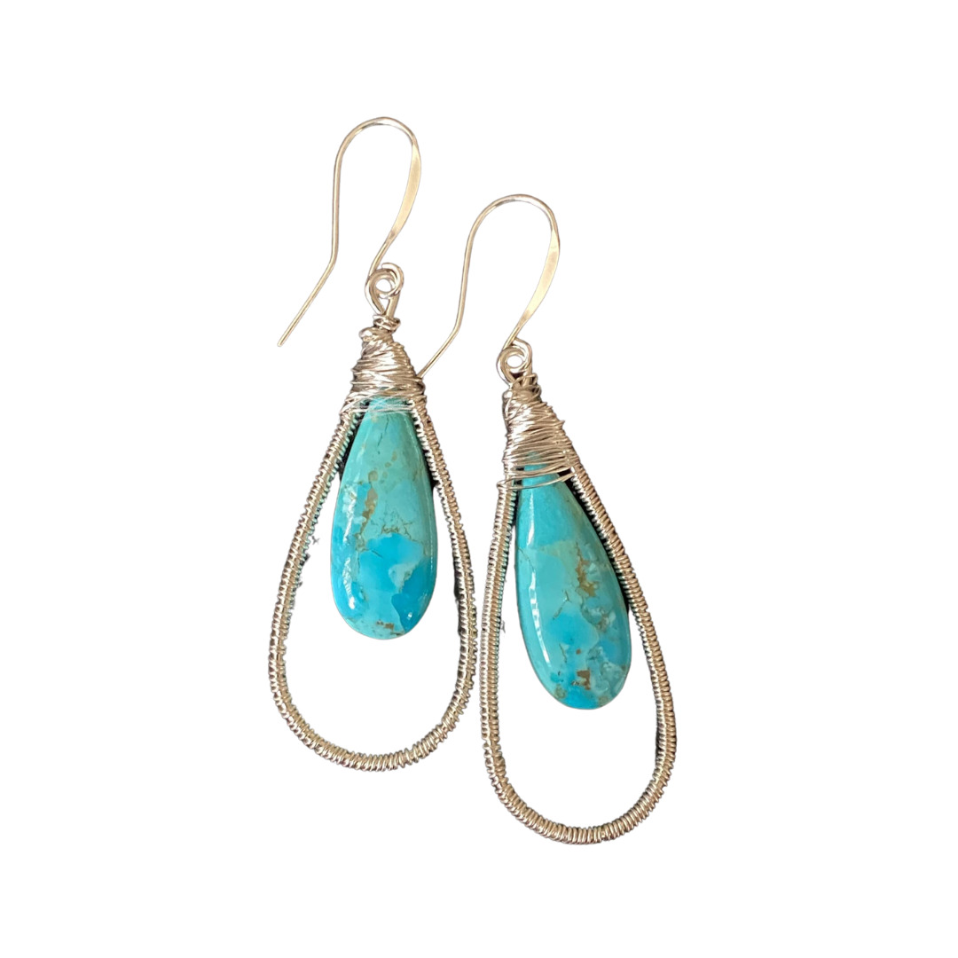 Blue Mohave Turquoise Tear Drop Hand Wire Earrings. Silver Filled Wires By Covet And Desire