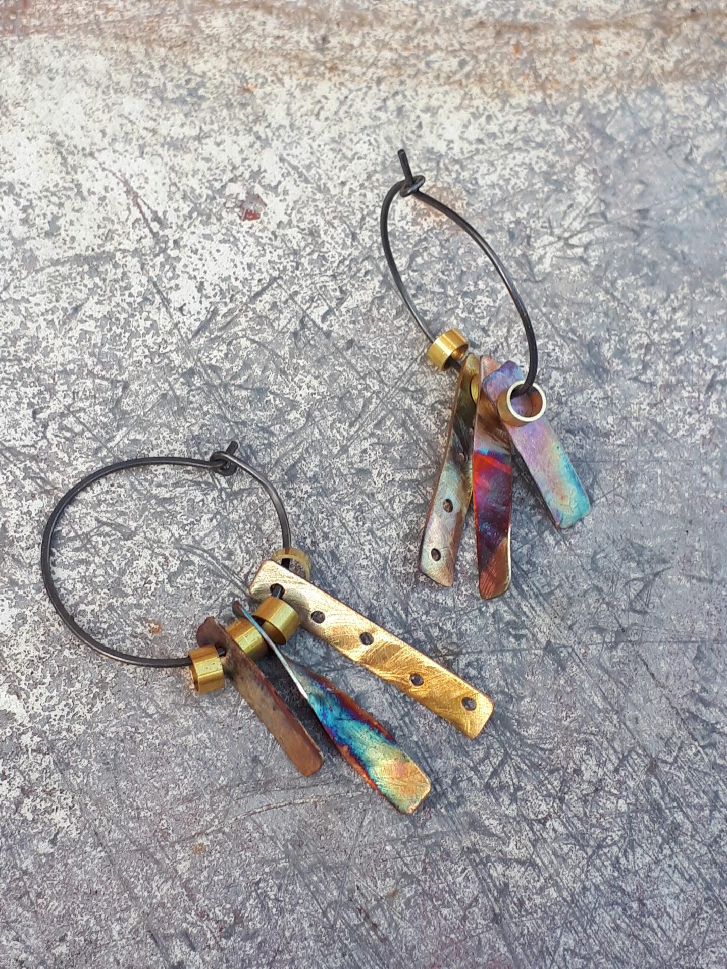 Space Junk (Soyuz Rainbow) Hoop Earrings By Emma Hesz