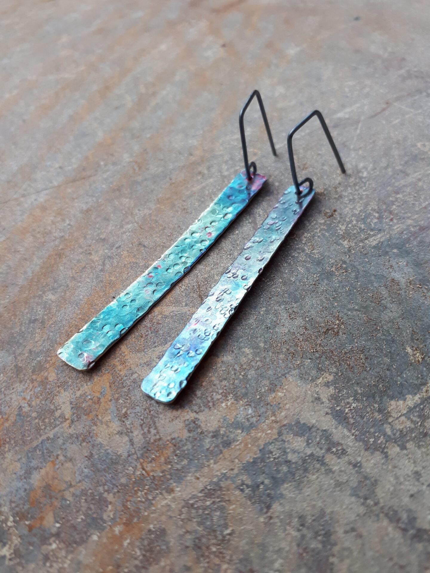 'Ocean Blue' Textured Strip Earrings By Emma Hesz
