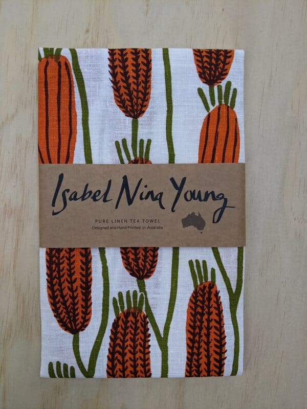 golden-bottlebrush-linen-tea-towel-by-isabel-nina-young-by-isabelninayoung