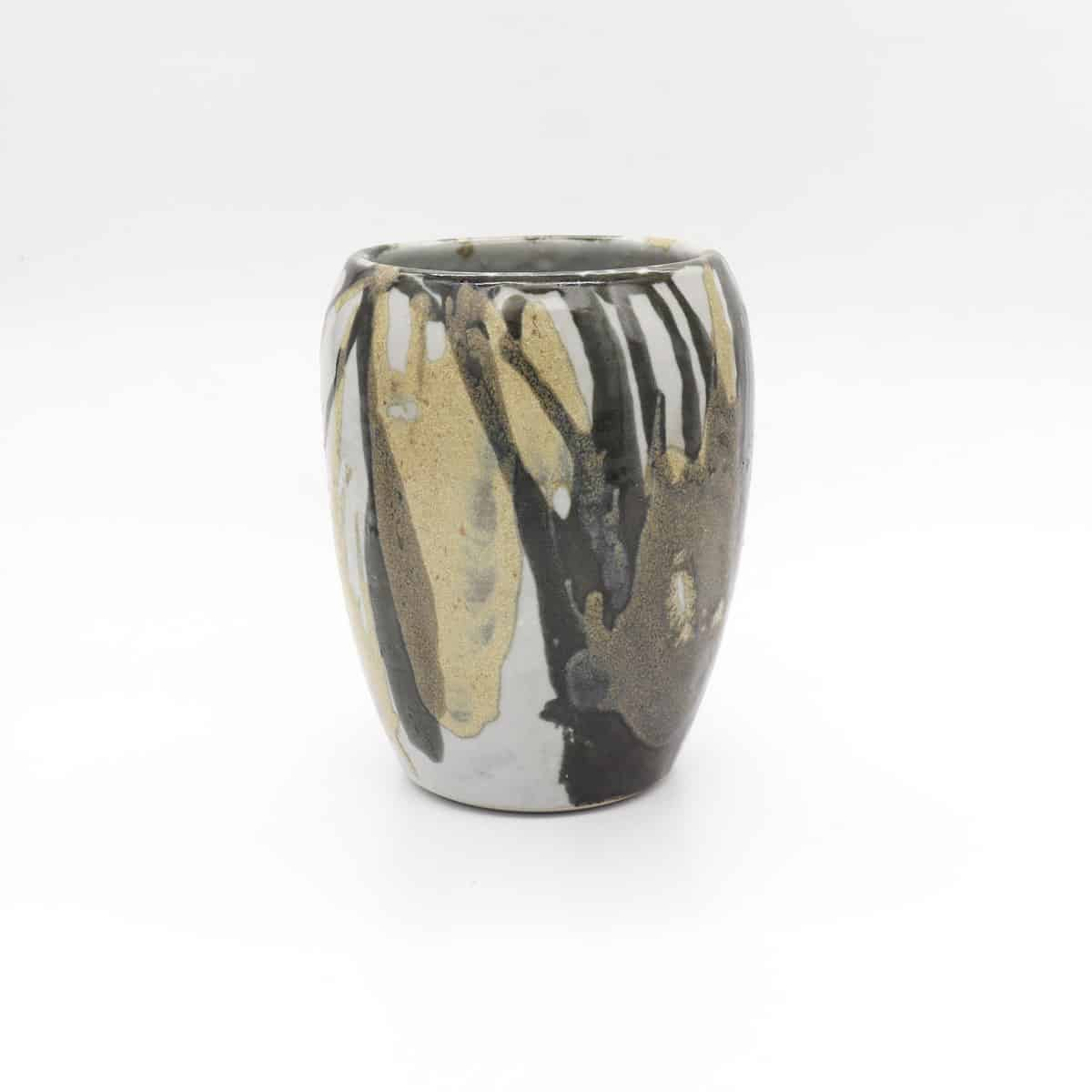 Splattered Ceramic Vase – Gold And Black By Clifton Hill Pottery