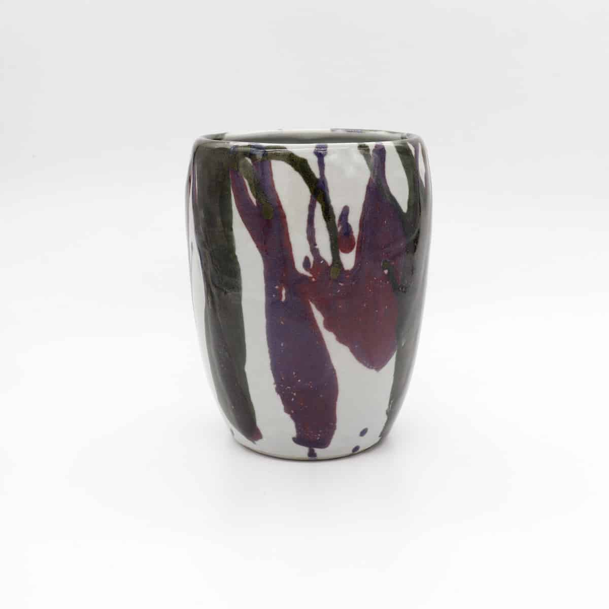 Splattered Ceramic Vase – Purple And Black By Clifton Hill Pottery