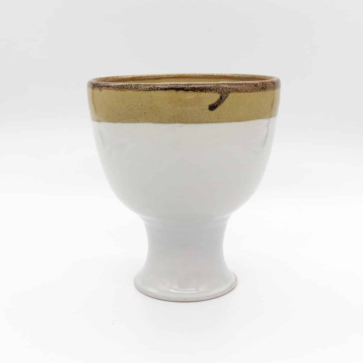 Large Ceramic Goblet – White And Gold By Clifton Hill Pottery