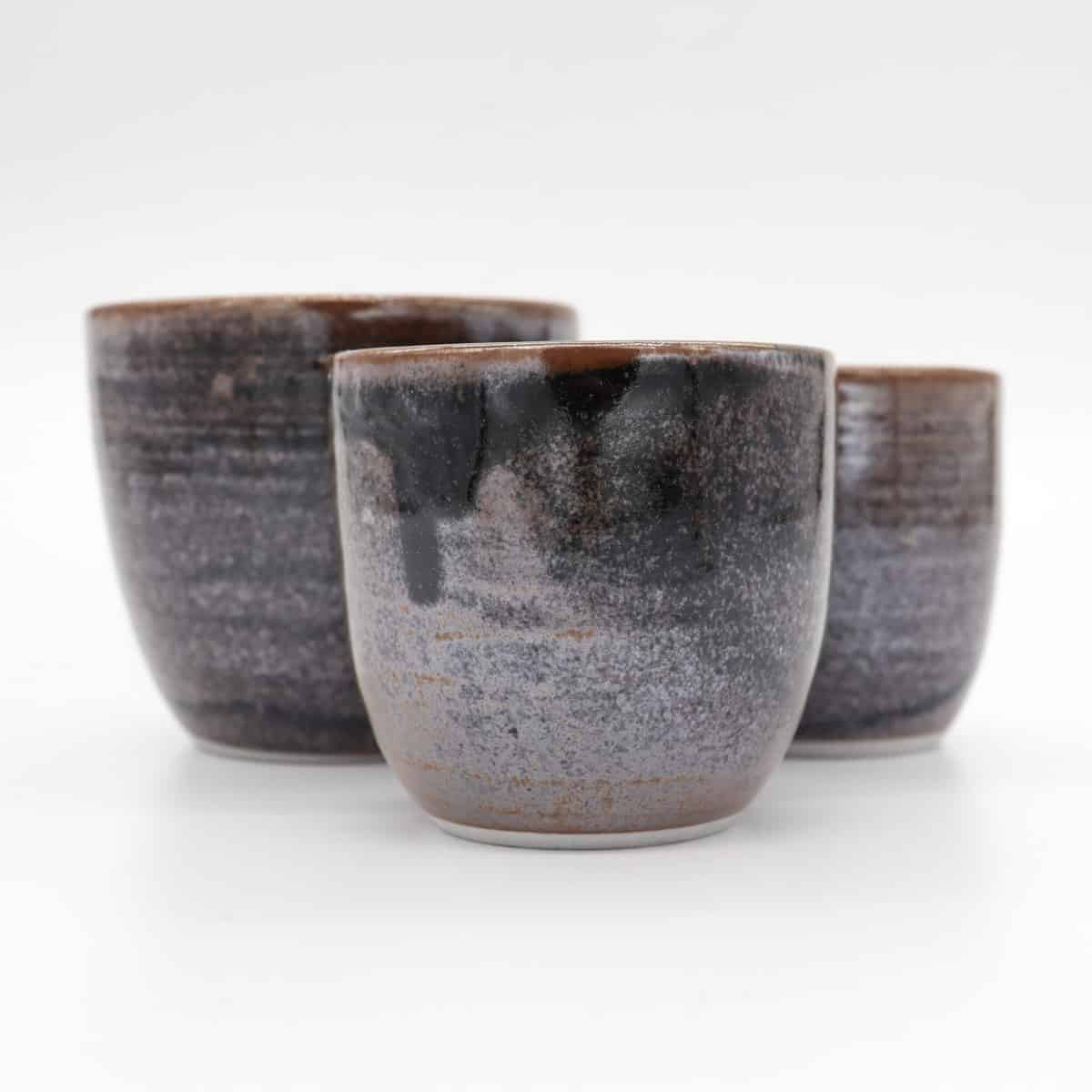 Set Of 3 Nested Beakers – Black And Brown By Clifton Hill Pottery
