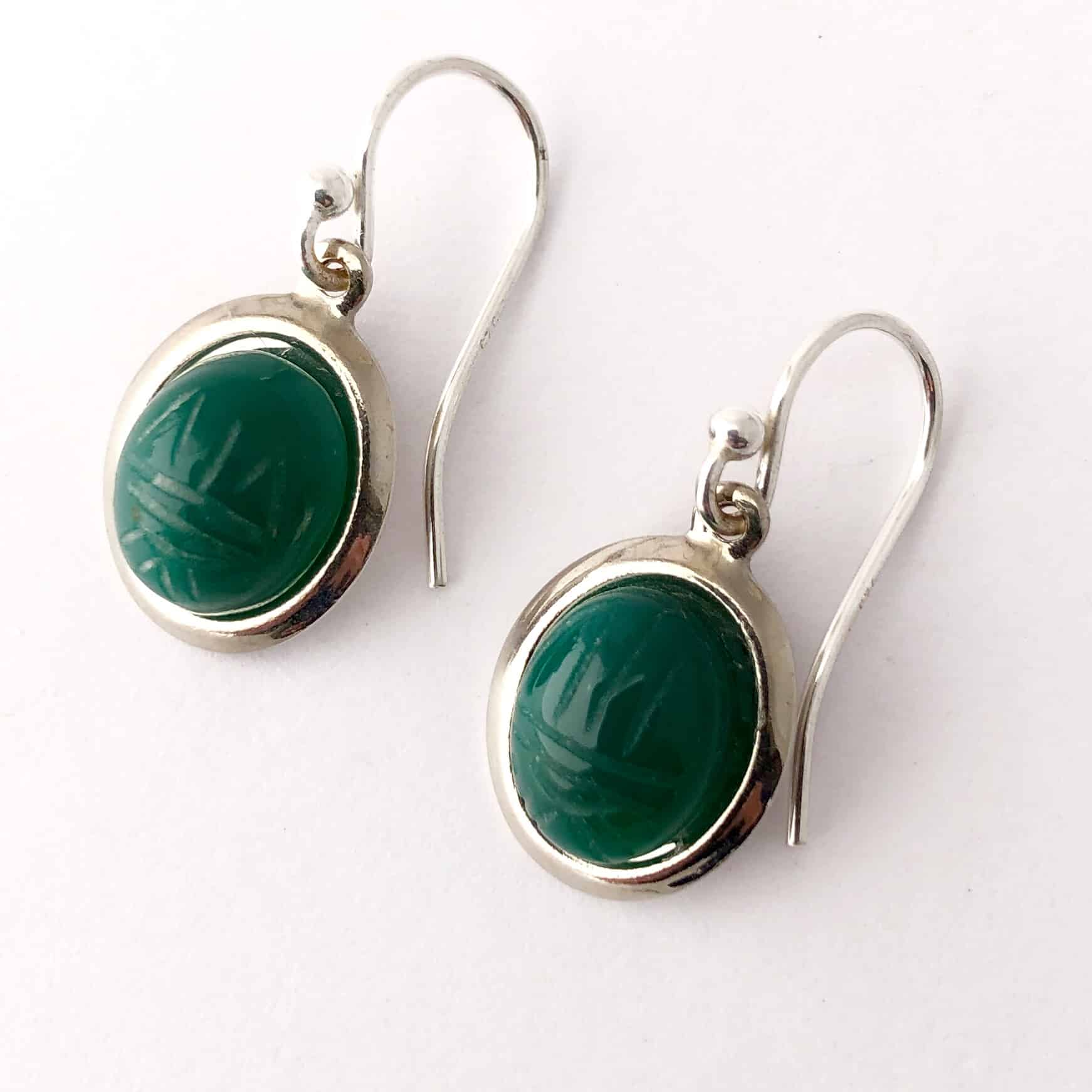 Vintage Green Onyx Scarab Earrings By My Vintage Obsession