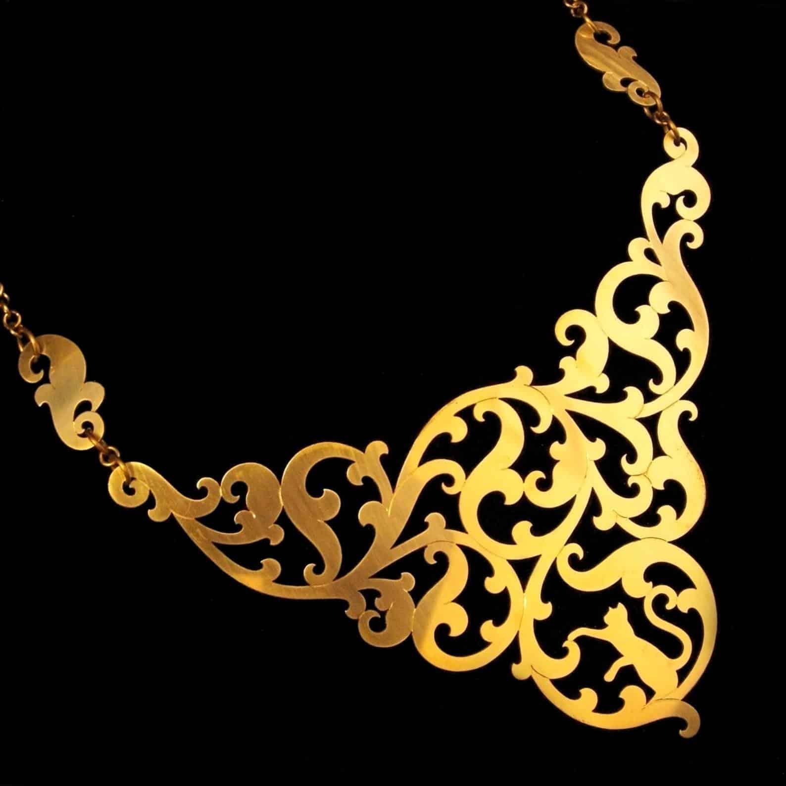 Feline In The Foliage Brass Statement Necklace By Skadi Jewellery Design