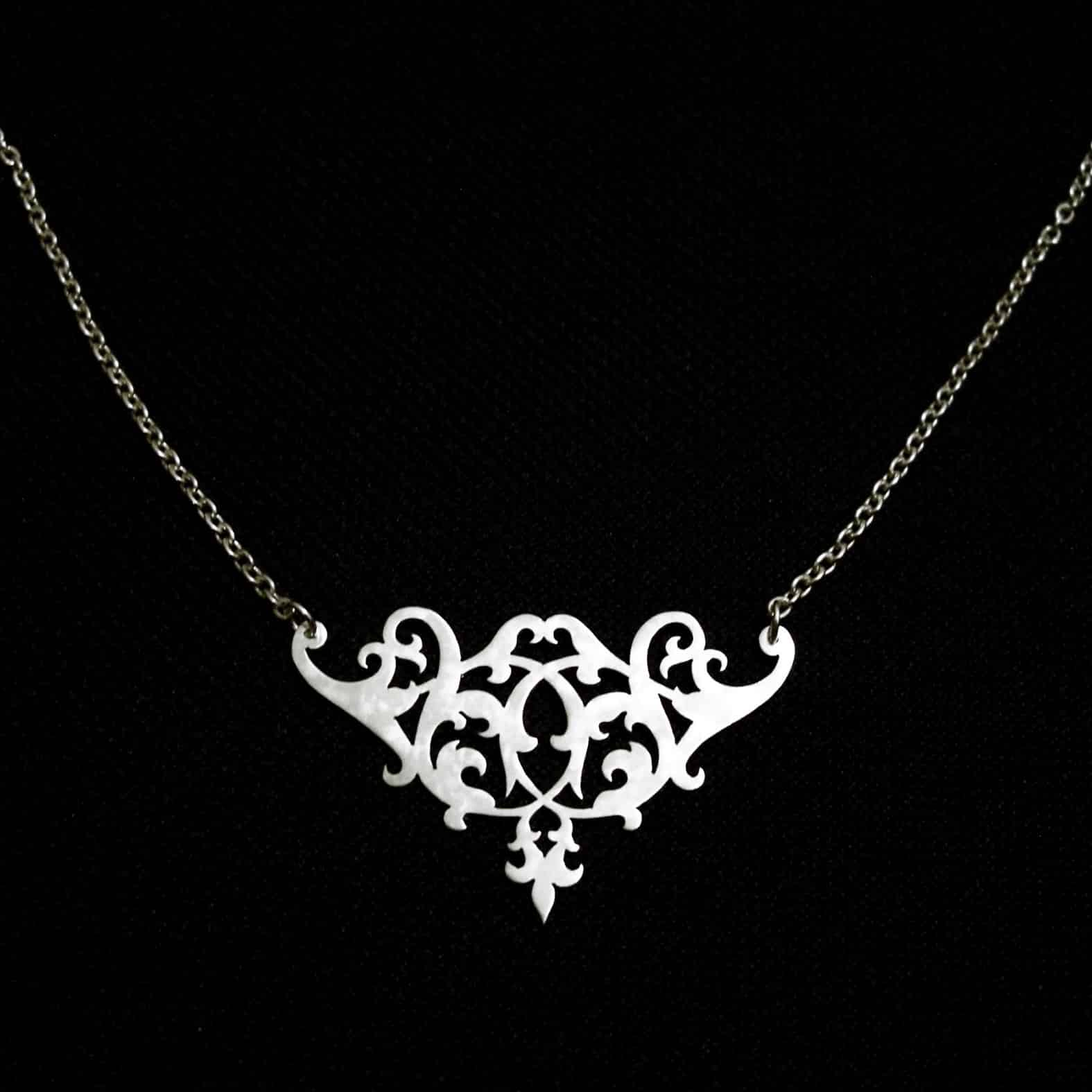 Renaissance Soiree – Small Silver Floral Necklace By Skadi Jewellery Design