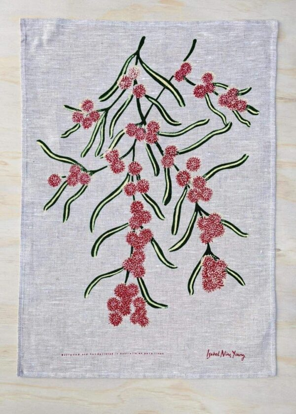 cinnamon-wattle-oatmeal-linen-tea-towel-by-isabel-nina-young-by-Clare