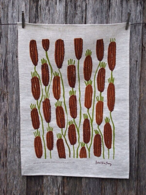 brown-bottlebrush-linen-tea-towel-by-isabel-nina-young-by-Clare