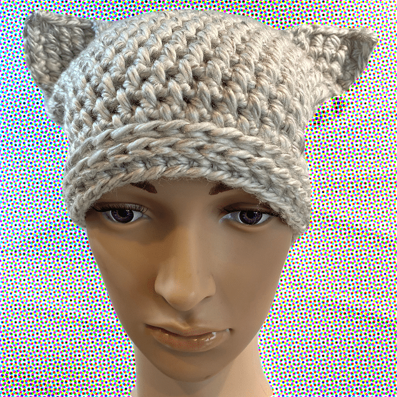 Beanie With Ears  M By Out Of My Mind Crochet