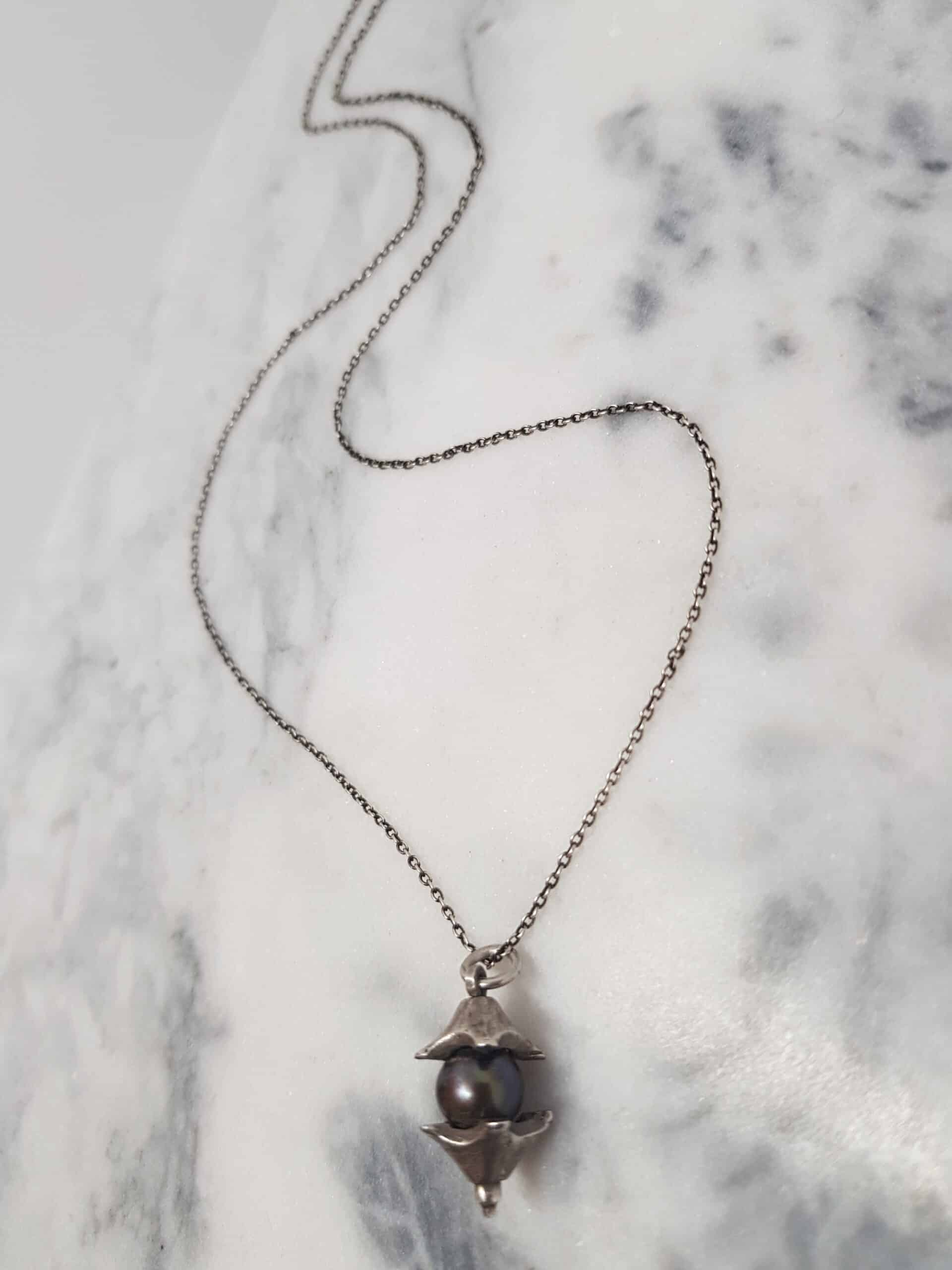 Handmade Silver Split Bead Pendant With Fresh Water Black Pearl By Corinne Lomon