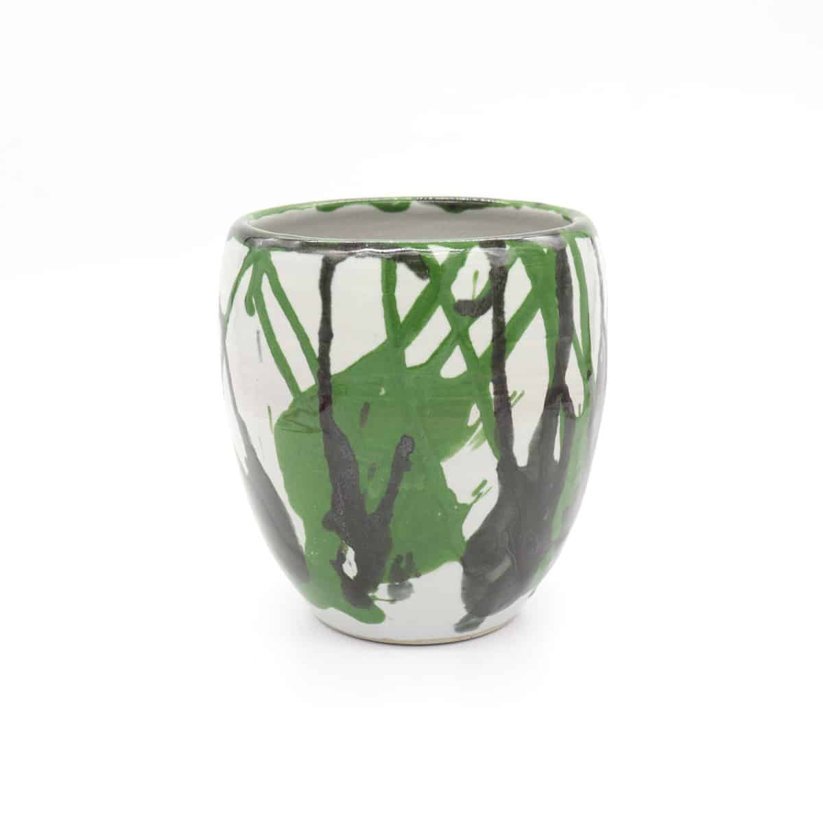 Vase Green Black Splash By Clifton Hill Pottery