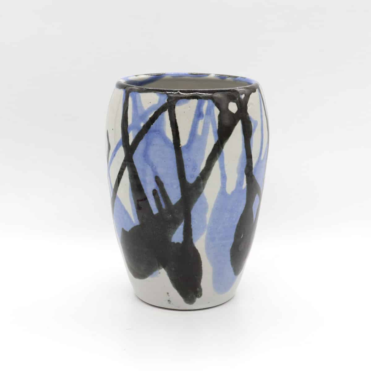 Vase Blue Black By Clifton Hill Pottery