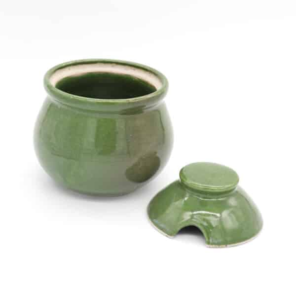 green ceramic tea caddy by clifton hill pottery