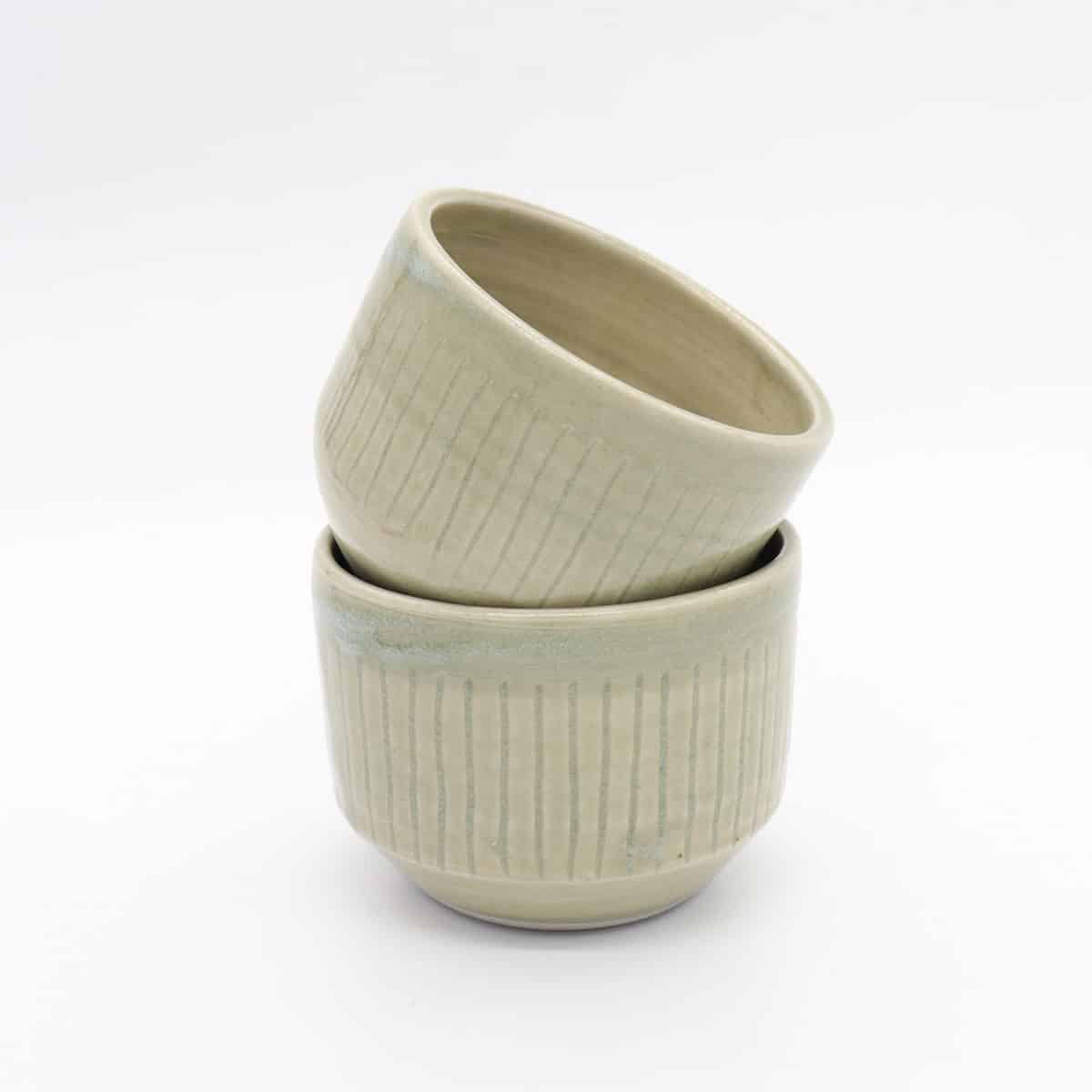 Soup / Rice / Noodle Bowl. Fluted W/ Celadon Glaze  By Clifton Hill Pottery