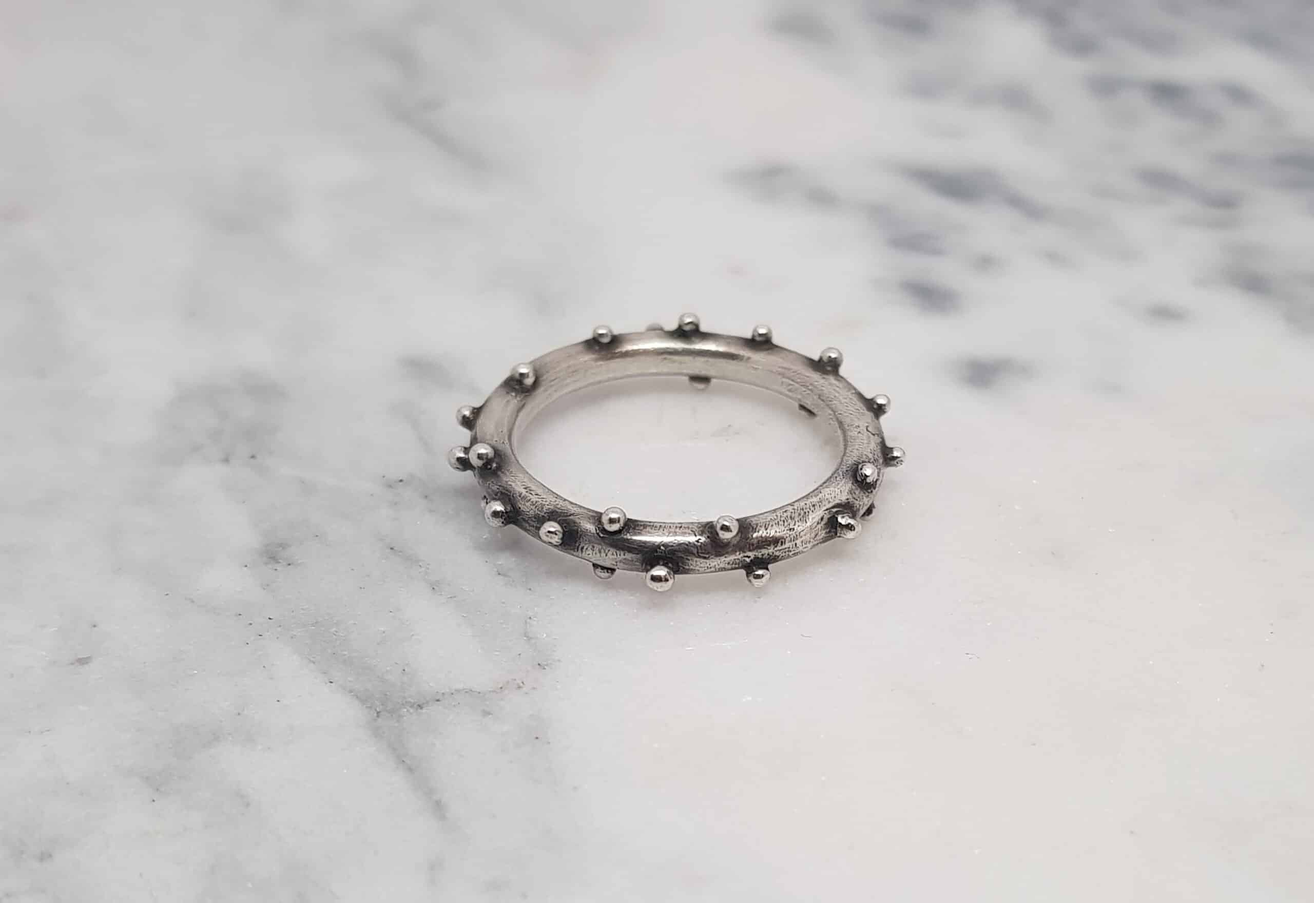 Size S Oxidized Silver Bobble Ring By Corinne Lomon