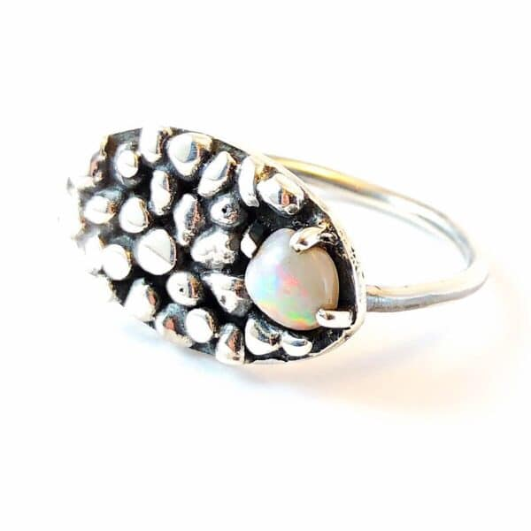 Opal and Granules Sterling Silver Ring by Jamie Spinks
