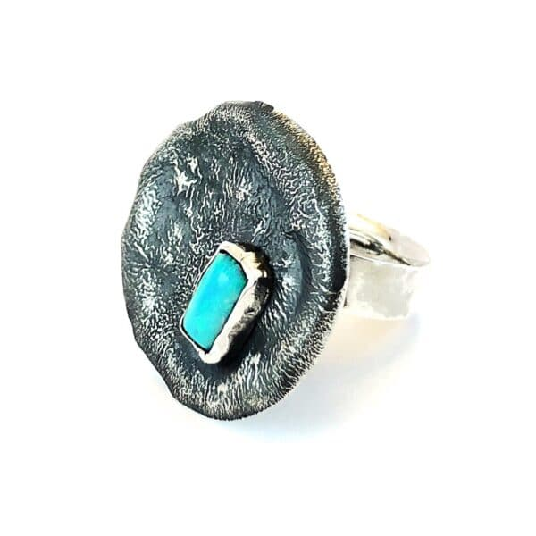 Australian Opal blackened Sterling Silver Ring by Jamie Spinks