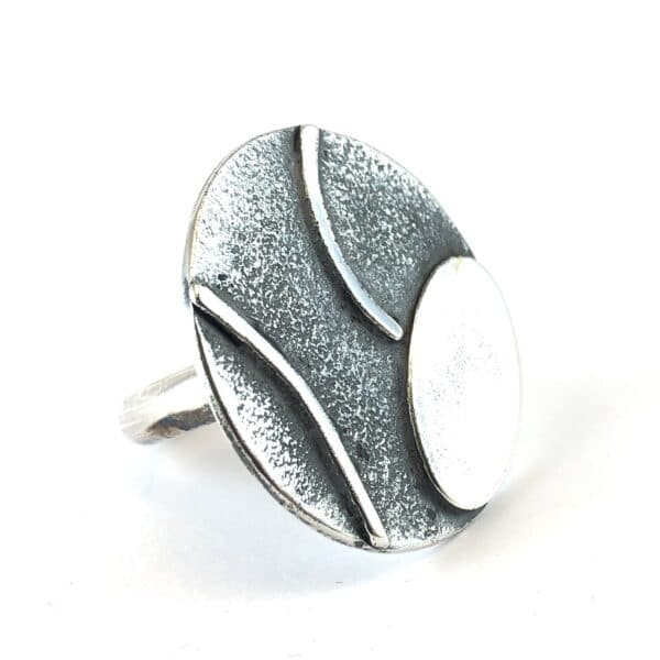 Oval Circle Sterling Silver Ring by Jamie Spinks