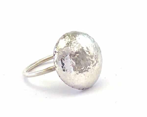 Shiny Button Sterling Silver Ring by Jamie Spinks
