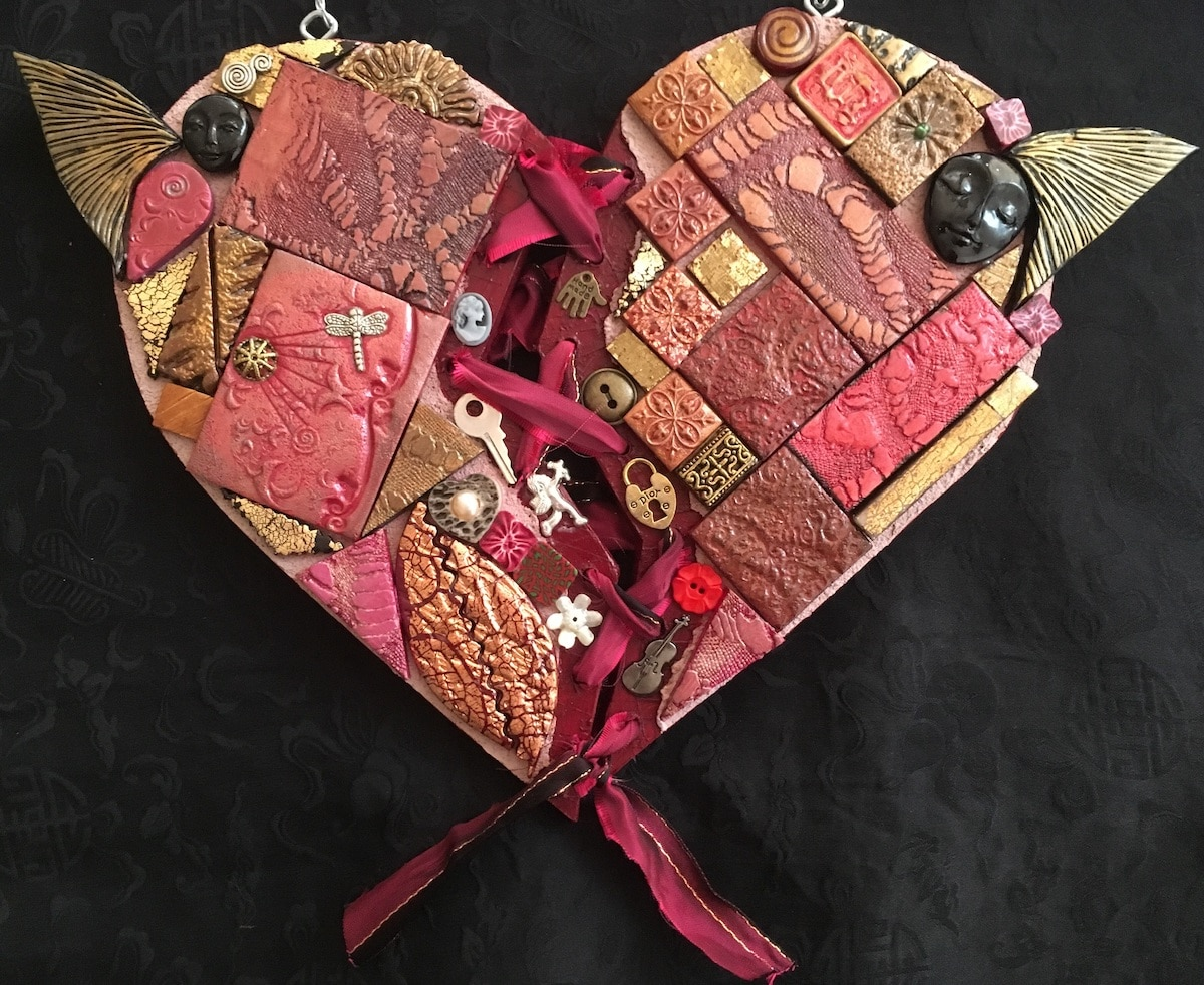 Raggedy Patchwork Heart By Amethyst Moon Art